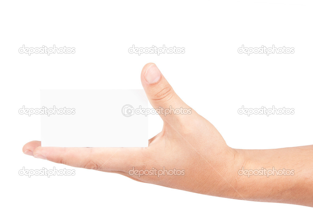 Hand holds the card  Stock Photo #14646337