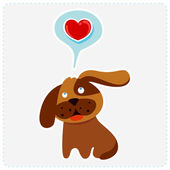 Cute cartoon dog is thinking to love — Stock Vector