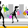 Shopping woman in the city — Stock Vector #8400121