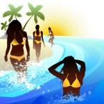 Girls on the beach — Stock Vector #9592471