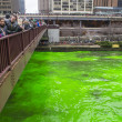 Chicago River dyed green - Stok fotoğraf