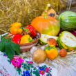 Stock Photo: Autumn still life with vegetables and Ukrainitablecloth
