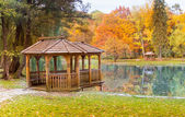 Wooden gazebo on the lake — Stock Photo