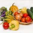 Stock Photo: Autumn vegetables with flowers