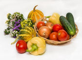 Autumn vegetables with flowers — Stock Photo