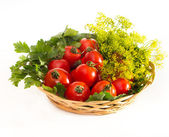 Tomatoes with parsley in wicker plate — Stock Photo