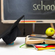 Back to school-board with books, notebooks and school supplies. — Stock Photo