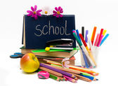 School subjects and apple. Teachers' Day — Foto Stock