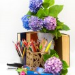 Stock Photo: Teacher's Day.Bouquet of flowers hydrangeas and school subjects.