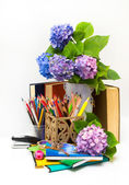 Teacher's Day.Bouquet of flowers hydrangeas and school subjects. — Stock Photo