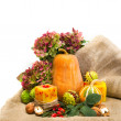 Stock Photo: Harvested pumpkins with fall leaves, flowers and nuts.