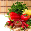 Mixture of peppers and sauce — Stock Photo