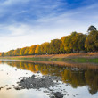 Autumn city landscape with reflection in river — Stock Photo #33872559