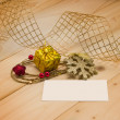Christmas composition with gift and ribbon — Stock Photo