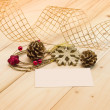 Christmas pine cones and snowflakes — Stock Photo