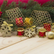 Holiday background with pine branches and toys. — Stockfoto