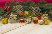 Holiday background with pine branches and toys. — Stock Photo