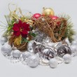 Stock Photo: Christmas card with red flower, balls, bells