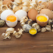 Stock Photo: Broken and whole eggs