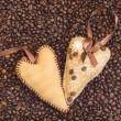 Stock Photo: Hearts decorated with coffee beans with ribbons
