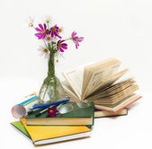 School subjects and flowers in a vase. — Stock Photo