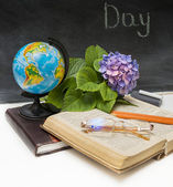 Flower hydrangea and school subjects. — Stock Photo