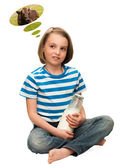 Child with a bottle of milk. — Stock Photo