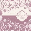 Purple invitation card with floral background — Vektorgrafik