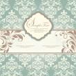 Свадебная пригласительная открытка с цветочный фон — Cтоковый вектор