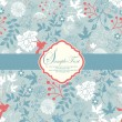 Blue vintage invitation card with floral background — Imagen vectorial