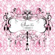 Stock Vector: Pink damask card