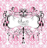 Pink damask card — Stock Vector