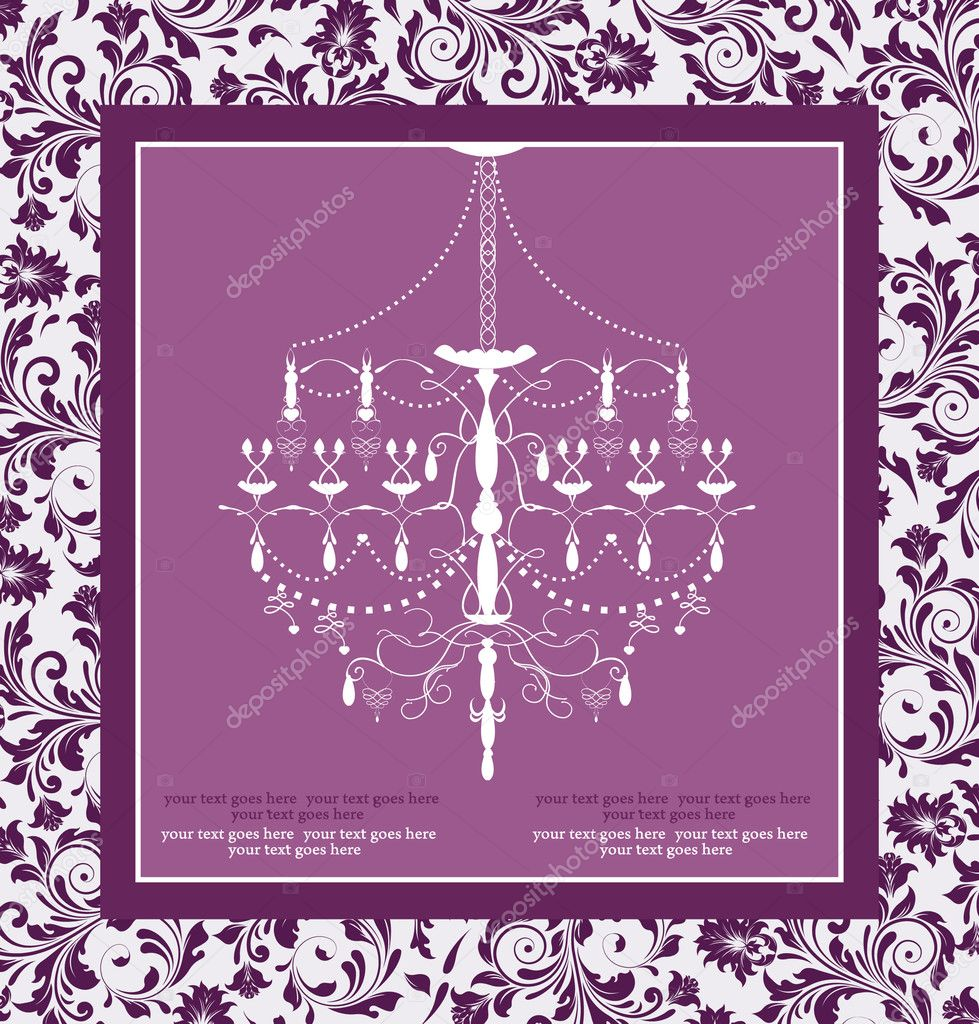 Purple vintage invitation wedding card — Stock Vector #16810703