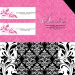 Black and pink damask invitation card - Vettoriali Stock