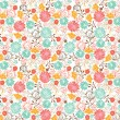 floral seamless pattern, vector design — Stock Vector