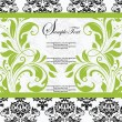 Stock Vector: Damask lime shower invitation card
