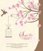 鳥とブランチのシルエットとビンテージ背景 — ストックベクタ