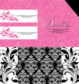 Black and pink damask invitation card — ストックベクタ