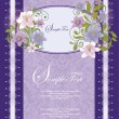 Stock Vector: Purple Floral Frame Bridal Shower Invitation