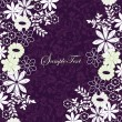 Purple and white floral invitation card — Stok Vektör