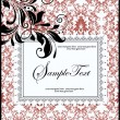 FLORAL DAMASK INVITATION CARD — Stock Vector