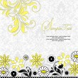 Yellow Black Floral Shower Invitation — Stock Vector