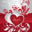 Vector de stock : Red and silver valentines day card