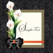 Calla lilies on black damask background — Image vectorielle