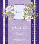 Purple Floral Frame Bridal Shower Invitation — Vector de stock
