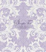 Tarjeta de invitación damasco floral púrpura — Vector de stock