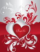 Röd och silver alla hjärtans dag-kort — Stockvektor