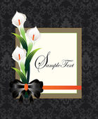 Calla lilies on black damask background — Stok Vektör