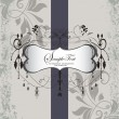 Wedding Invitation. Elegant Gray Purple Floral Card — Stock Vector