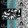 Royalty-Free Stock Vector Image: Blue, black and white damask card